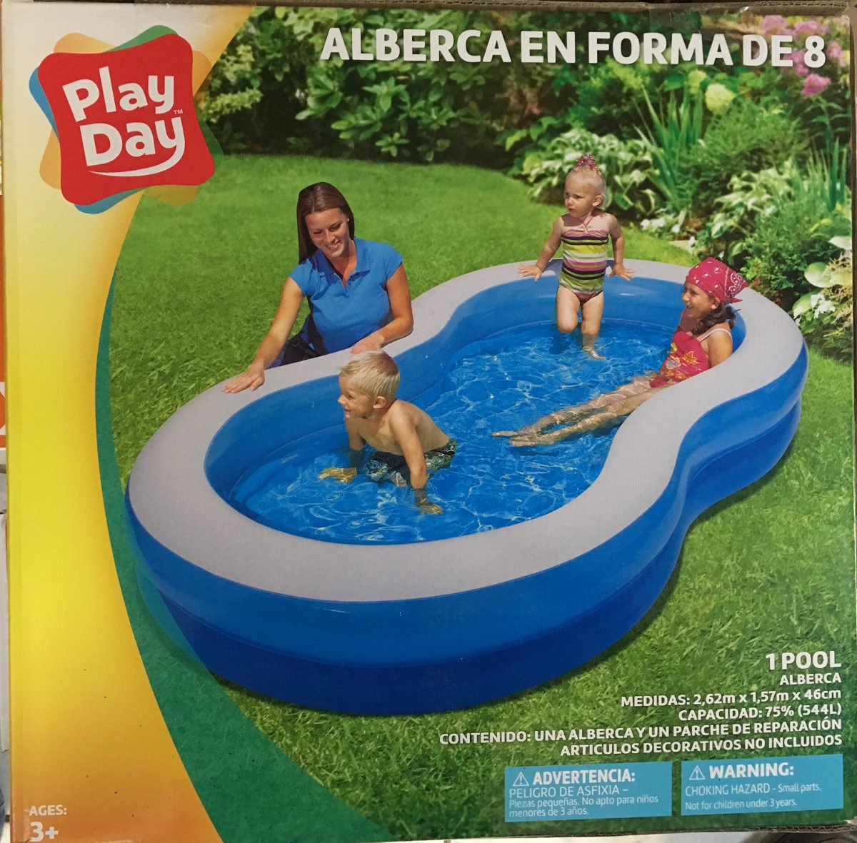 Alberca inflable grande ni os familiar azul en forma de 8 for Albercas inflables grandes baratas