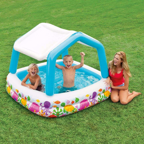alberca inflable intex infantil con techo niños agua