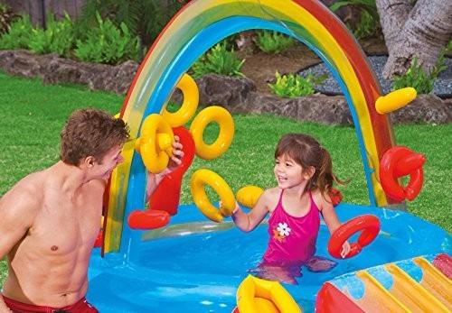 alberca inflable parque acuático arcoiris intex para niños