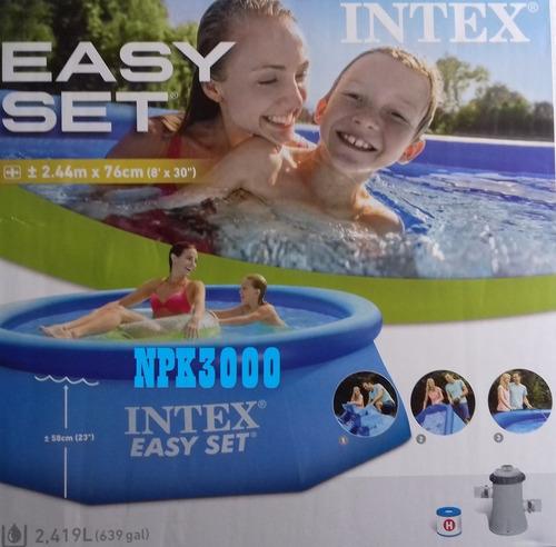 alberca piscina circular inflable de 2.44 m. con bomba intex