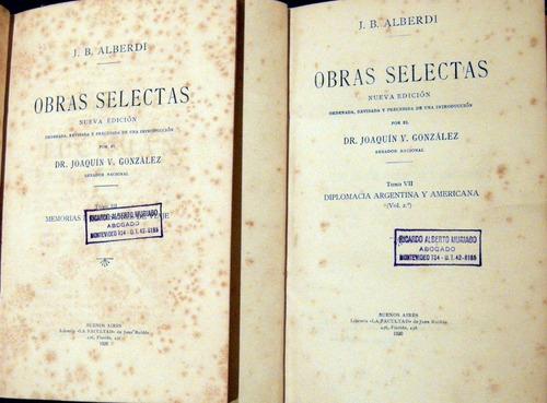 alberdi obras selectas memorias de viaje 2 ts 1920 no envio