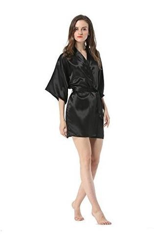 albornoz kimono robe, para mujer, medio liso, satinado vo...