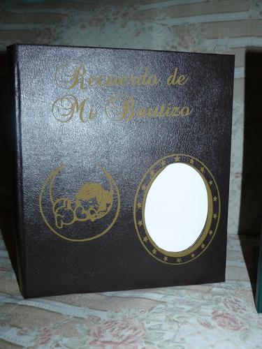 álbum bautizo y comunión en percalina italiana. para 8x10.