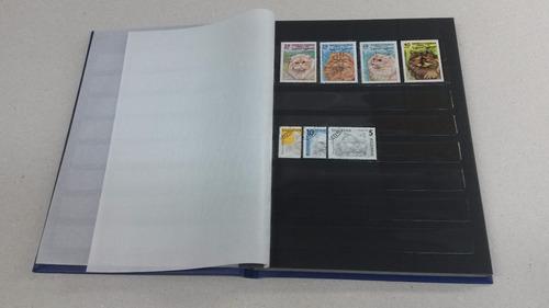 álbum classificador selos minas 12 pgs pretas + brinde