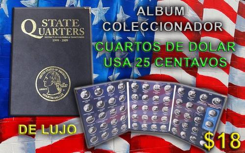 album coleccionador de monedas de 25 centavos de lujo nuevo