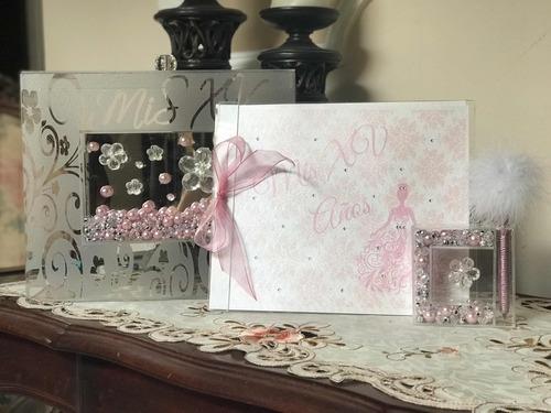 álbum de firmas mod. vintage boda, quinceañera, baby shower,