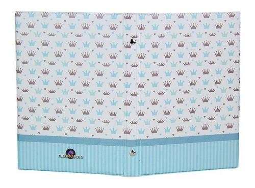 álbum  e maleta príncipe 200 fotos menino bebe azul - 15x21