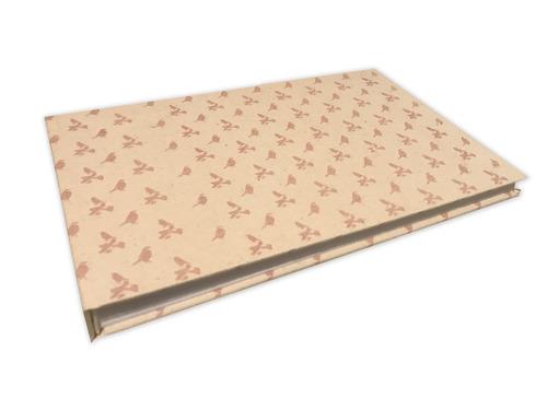 album extra grande en tela bebe (pajaros rosas, sin hoja de