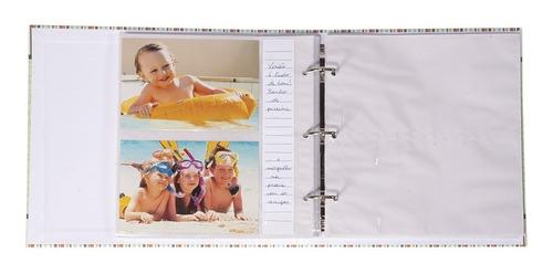 album foto bebe com diario 200 fotos 10x15  urso rosa capa tecido com bordado sistema fichario com refil