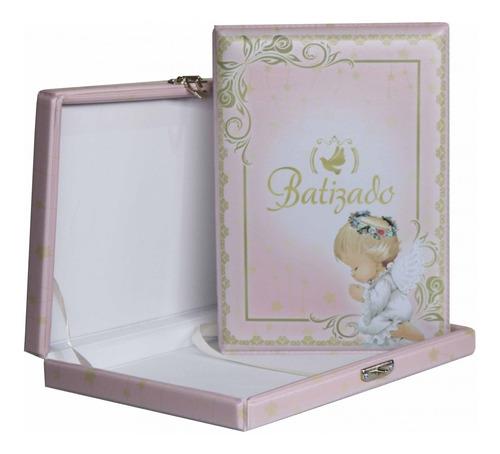 álbum fotográfico maleta batizado batismo anjo rosa e dourado para 80 fotos 15x21 com sacos plásticos
