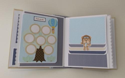 álbum fotos diário bebê personalizado scrapbook urso aviador