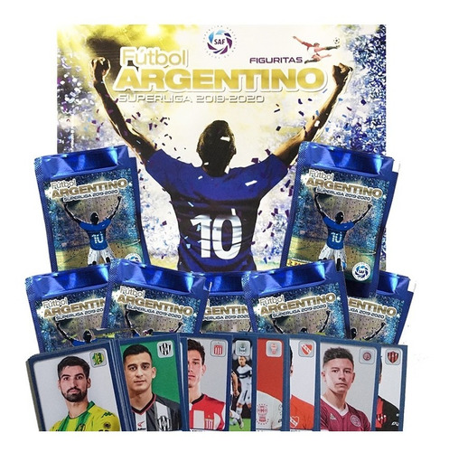 álbum fútbol superliga 2019 2020 + 100 figuritas + 10 sobres