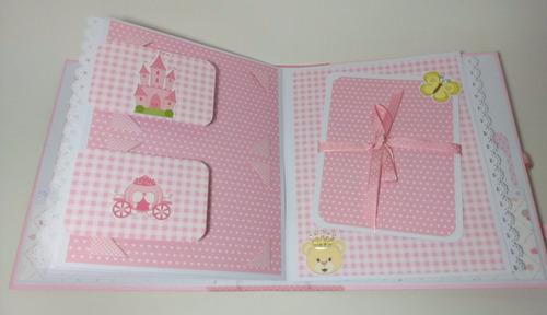 álbum livro bebê menina cx personalizado scrapbook 50foto a2