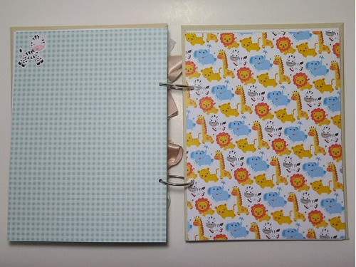 album livro do bebê personalizado scrapbook safari bege