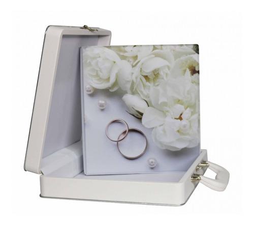 álbum maleta casamento enlace flor branca 200 fotos 15x21