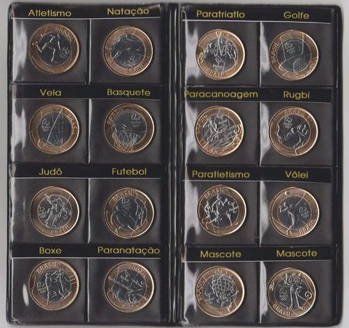 álbum olimpíadas rio 2016 - completo 17 moedas -com bandeira