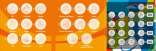 álbum olimpíadas rio 2016 - completo 17 moedas com bandeira