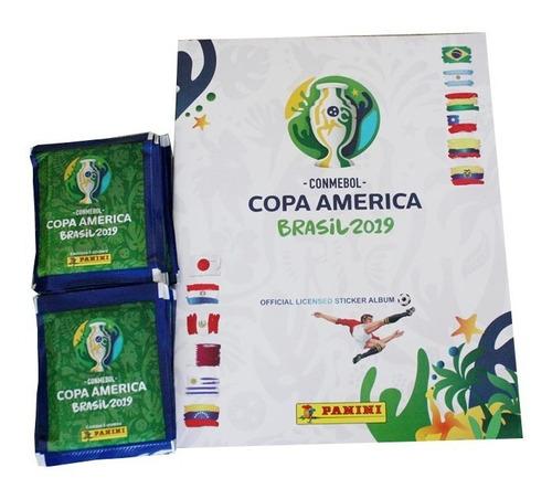 álbum panini copa américa brasil 2019 +50 sobres + envío