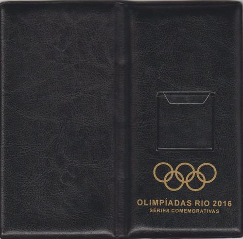 álbum para 17 moedas das olimpíadas rio 2016 - estojo  preto
