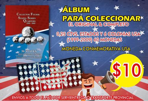 álbum para monedas de 0,25 ctvs americanas