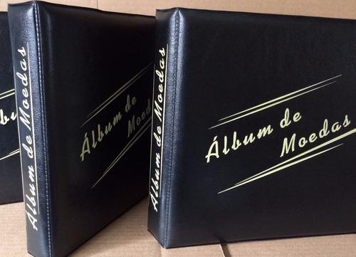 album pasta fichario pequeno pvc + folha p/ 300 moedas 2arg