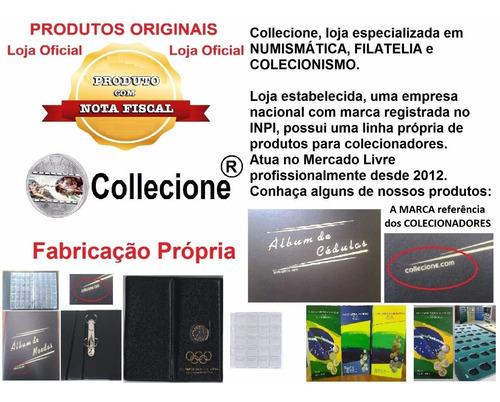 album pasta fichario pequeno pvc + folha p/ 360 moedas 2arg