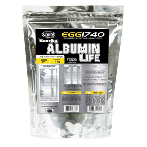 albumin life 1740 pacote metalizado chocolate 500g - unilife