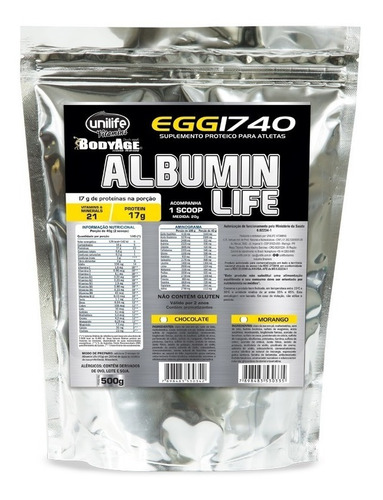 albumin life 1740 pacote metalizado chocolate unilife 500g