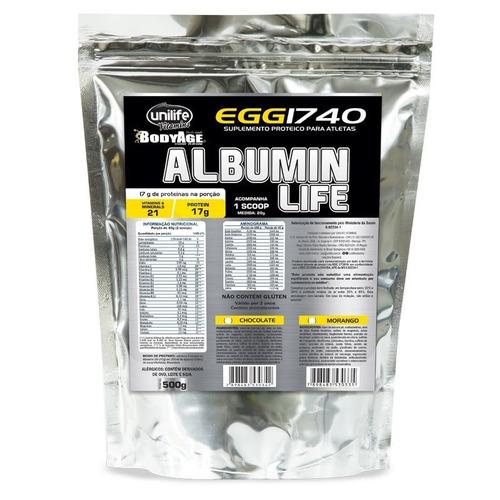 albumin life 1740 pacote metalizado chocolate - unilife 500g