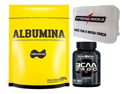 albumina 500g  + bcaa 100 tabletes black skull+ porta cáp