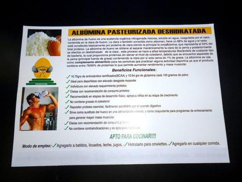 albumina deshidratada y pasteurizada 100% natural.