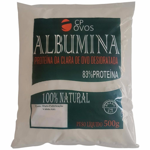 albumina pura - 1 kg ( 2 pacotes de 500g) - cp ovos