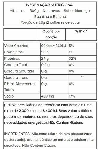 albumina pura com sabor (500g) naturovos - morango