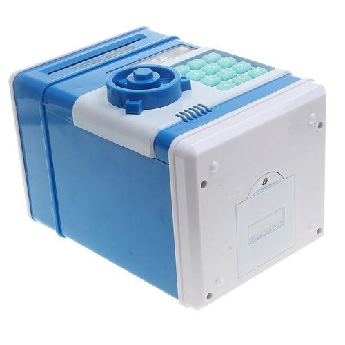 alcancía caja fuerte billetes monedas luces y sonido azul