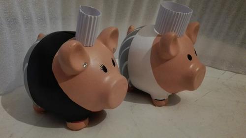 alcancia  de chefs cochinito puerquito cerdito ceramica