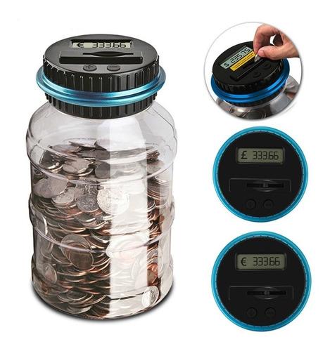 alcancia digital contadora de monedas con pantalla