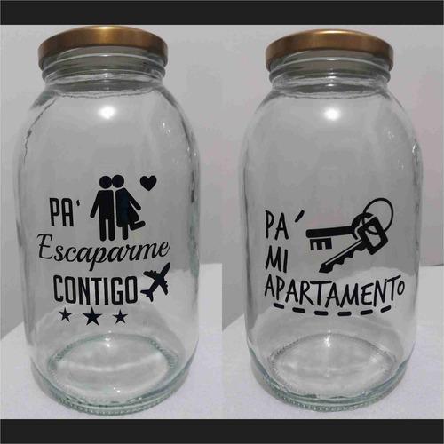 alcancia frasco vidrio con frase