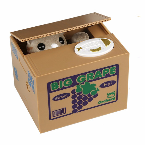 alcancía gato roba monedas con sonido caja uvas
