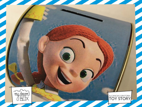 alcancía lata giratoria souvenir personaliza toy story jessi