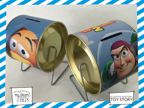 alcancía lata giratoria souvenir personaliza toy story tiro
