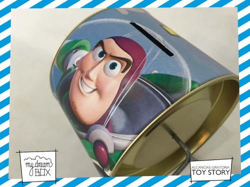 alcancía lata giratoria souvenir personalizad toy story buzz