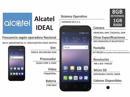 alcatel ideal - quad core- 8gb-1gb ram - 5mpx y 2mpx