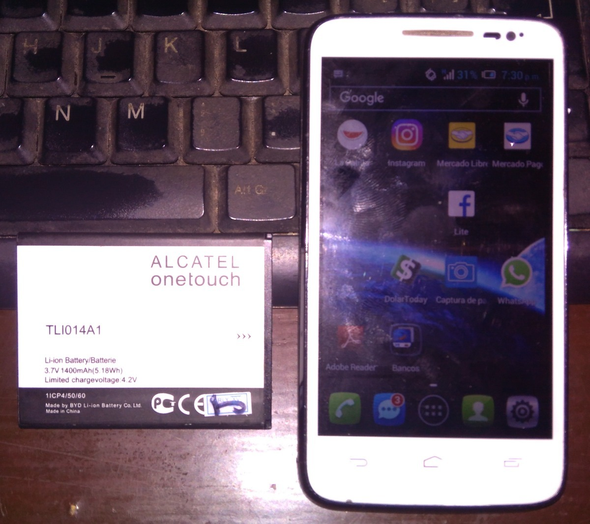 Alcatel One Touch M'pop 5020a (batería Extra) Liberado - Bs  0,02