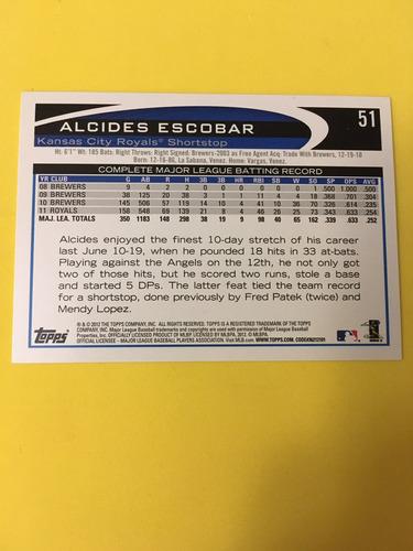 alcides escobar topps 2012 51