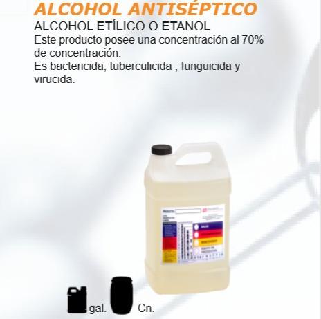 alcohol  antiséptico al 70% en galones y canecas