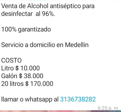 alcohol antiseptico al 96%
