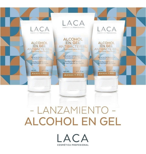 alcohol en gel antibacterial 140 ml laca set x 3 pomos
