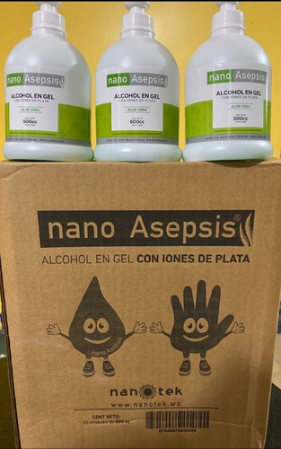 alcohol en gel nano asepsis aloe vera iones plata 500cc 12u