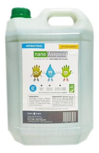 alcohol en gel nano asepsis con iones plata aloe vera 5lts