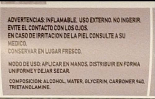 alcohol en gel por 250 cc x unidas. consultar por mayor